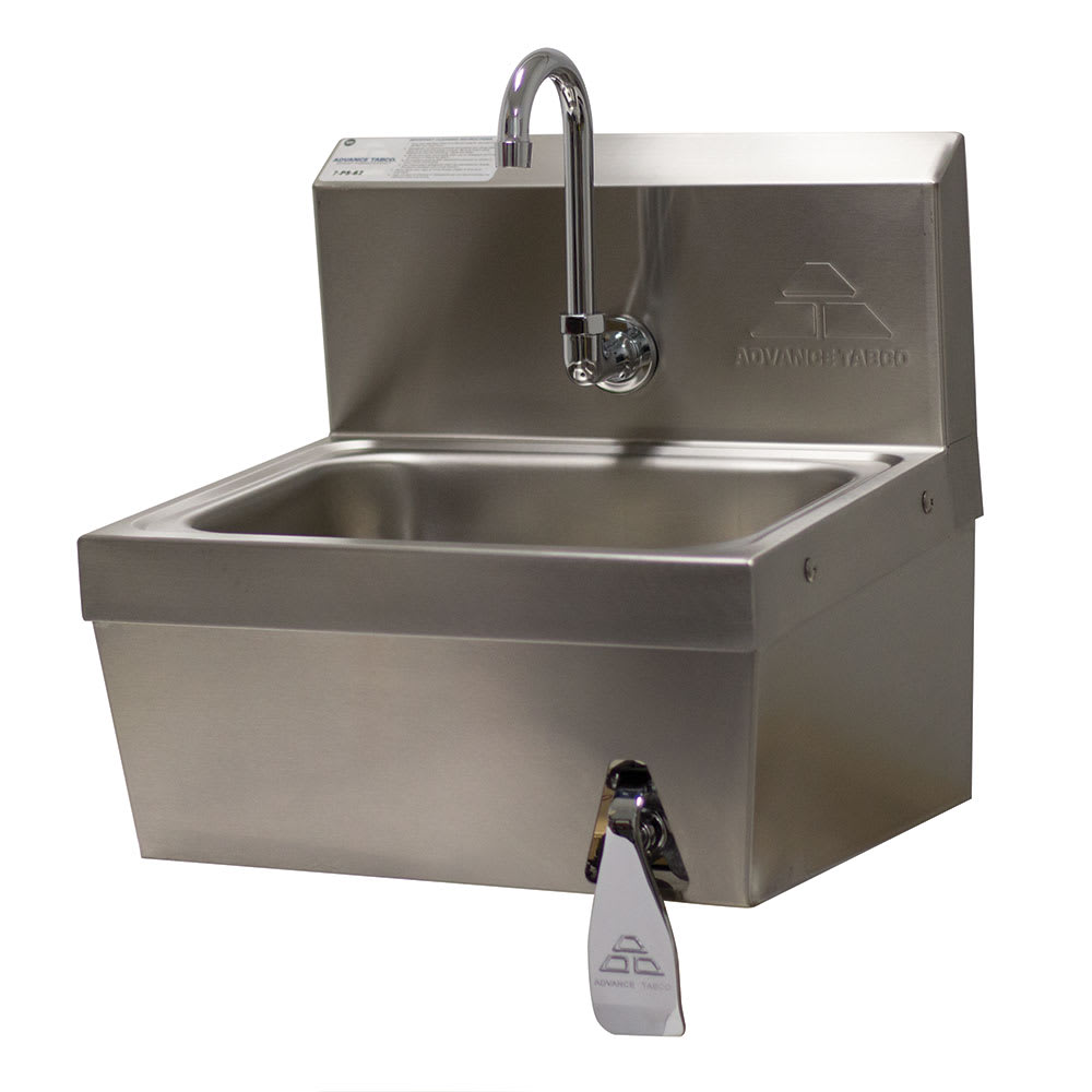 "Advance Tabco 7-PS-62 Wall Mount Commercial Hand Sink w/ 14""L x 10""W x 5""D Bowl, Basket Drain"