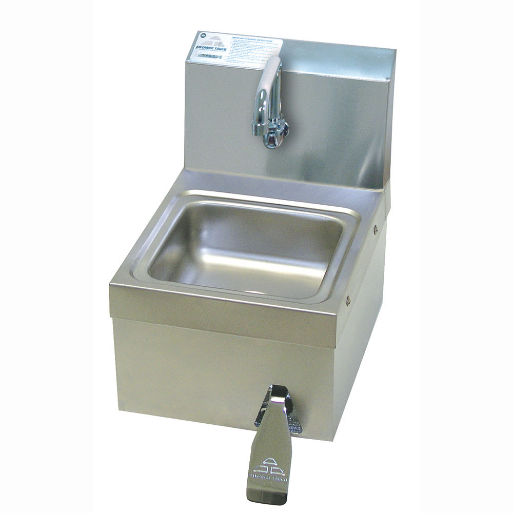 "Advance Tabco 7-PS-63 Wall Mount Commercial Hand Sink w/ 9""L x 9""W x 5""D Bowl, Knee Valve"