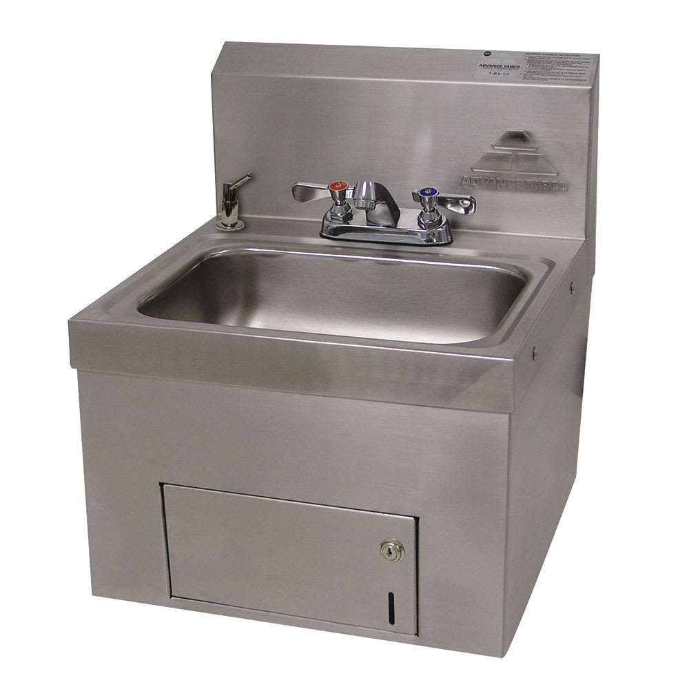 "Advance Tabco 7-PS-65 Wall Mount Commercial Hand Sink w/ 14""L x 10""W x 5""D Bowl, Standard Faucet"