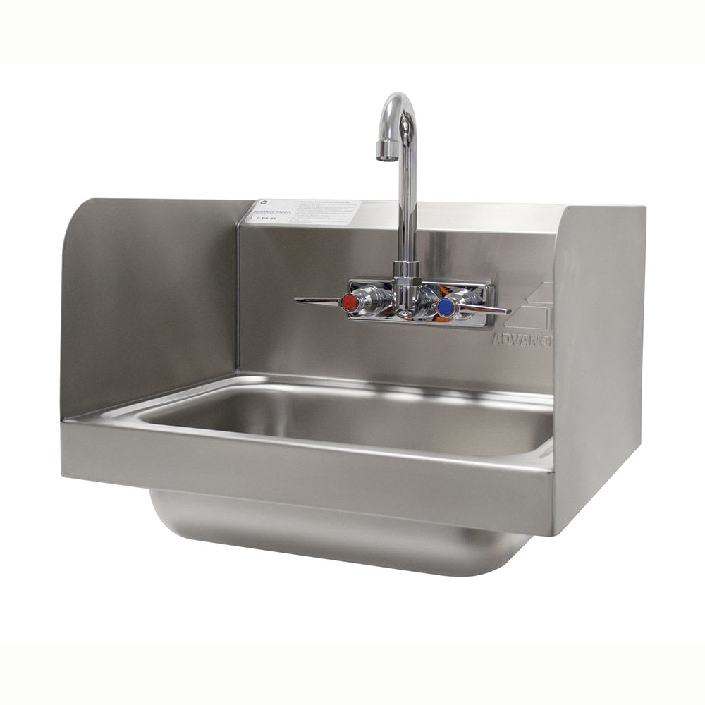 "Advance Tabco 7-PS-66 Wall Mount Commercial Hand Sink w/ 14""L x 10""W x 5""D Bowl, Side Splashes"