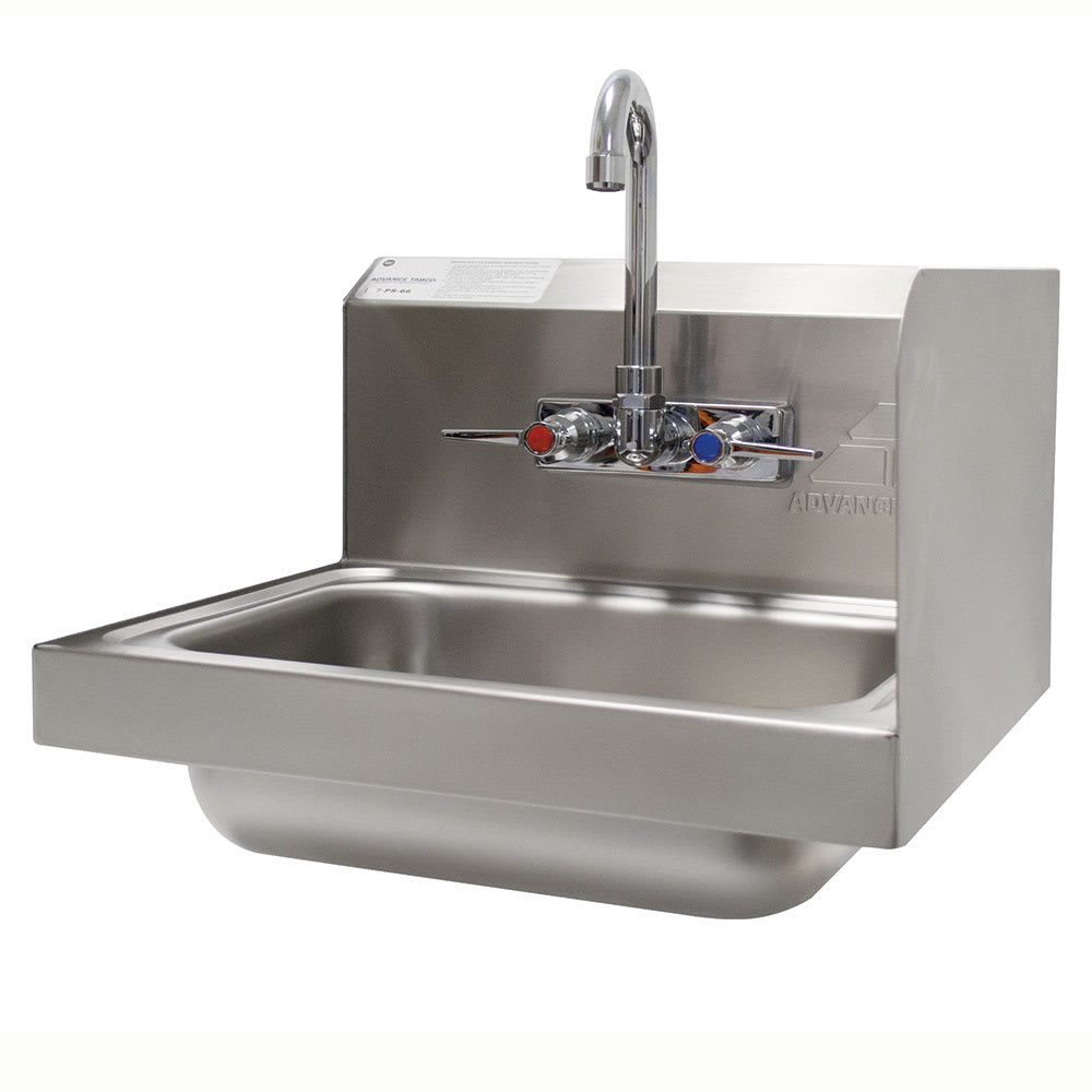 "Advance Tabco 7-PS-66R Wall Mount Commercial Hand Sink w/ 14""L x 10""W x 5""D Bowl, Side Splashes"