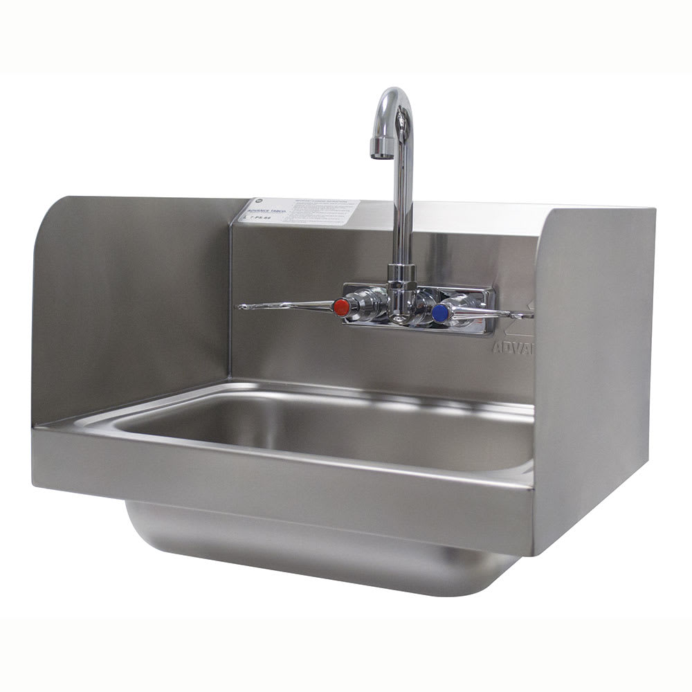 "Advance Tabco 7-PS-66W Wall Mount Commercial Hand Sink w/ 14""L x 10""W x 5""D Bowl, Side Splashes"