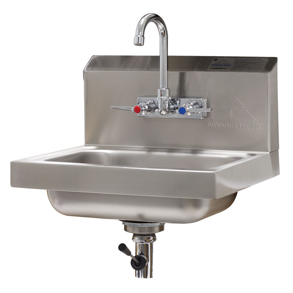 "Advance Tabco 7-PS-67 Wall Mount Commercial Hand Sink w/ 14""L x 10""W x 5""D Bowl, Lever Drain"