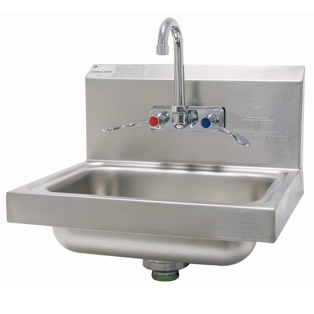 """Advance Tabco 7-PS-68 Wall Mount Commercial Hand Sink w/ 14""""L x 10""""W x 5""""D Bowl, Wrist Handles"""