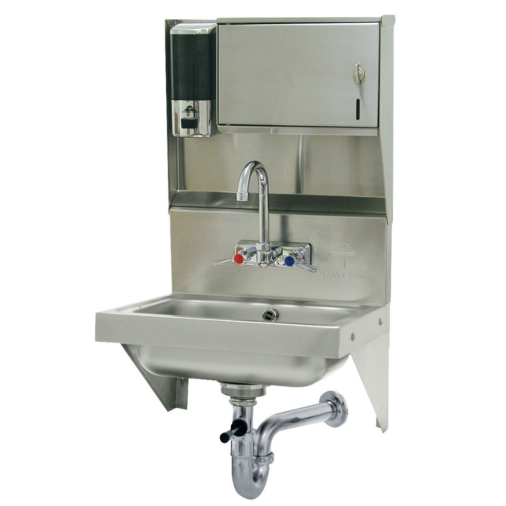 "Advance Tabco 7-PS-69 Wall Mount Commercial Hand Sink w/ 14""L x 10""W x 5""D Bowl, Wrist Handles"