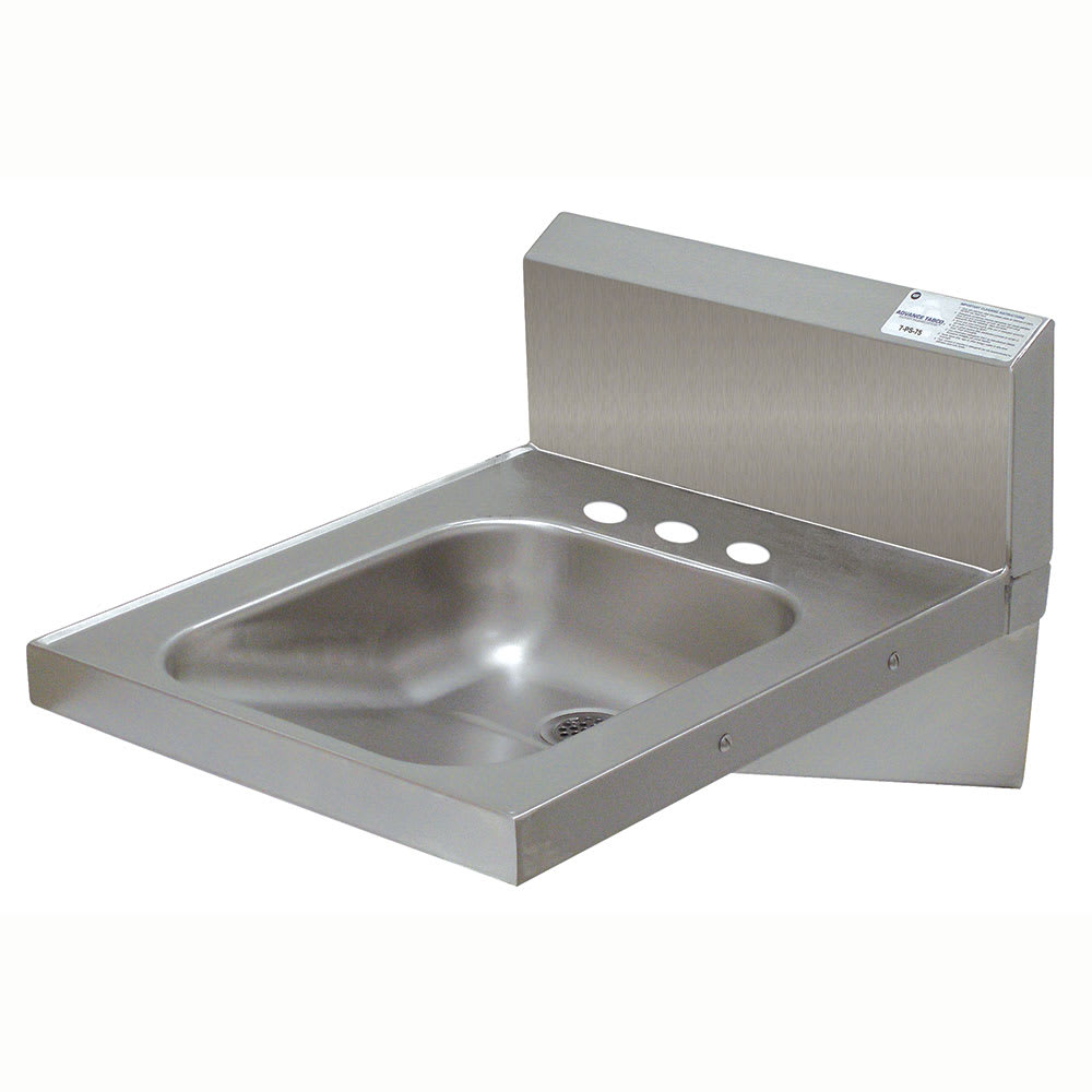 "Advance Tabco 7-PS-75 Wall Mount Commercial Hand Sink w/ 14""L x 10""W x 5""D Bowl, Basket Drain"
