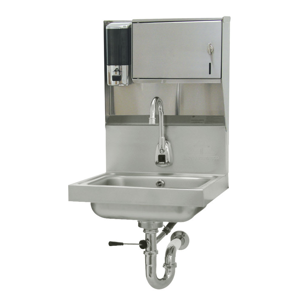 "Advance Tabco 7-PS-81 Wall Mount Commercial Hand Sink w/ 14""L x 10""W x 5""D Bowl, Electronic Faucet"