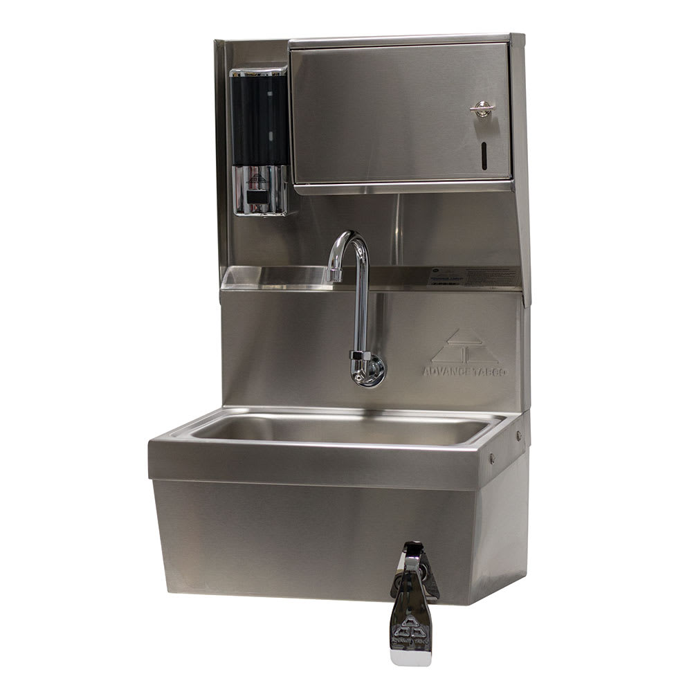"Advance Tabco 7-PS-82 Wall Mount Commercial Hand Sink w/ 14""L x 10""W x 5""D Bowl, Knee Valve"