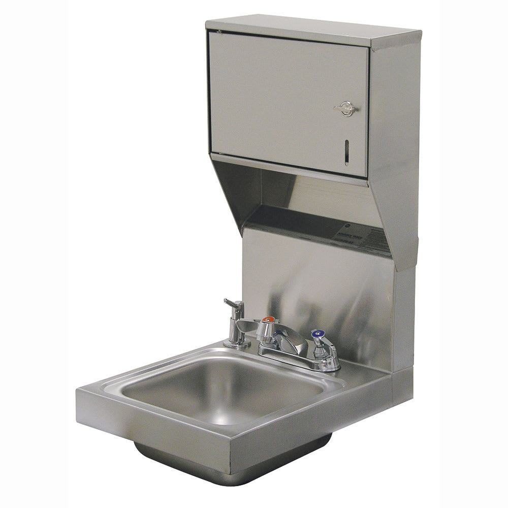 "Advance Tabco 7-PS-83 Wall Mount Commercial Hand Sink w/ 9""L x 9""W x 5""D Bowl, Soap Dispenser"