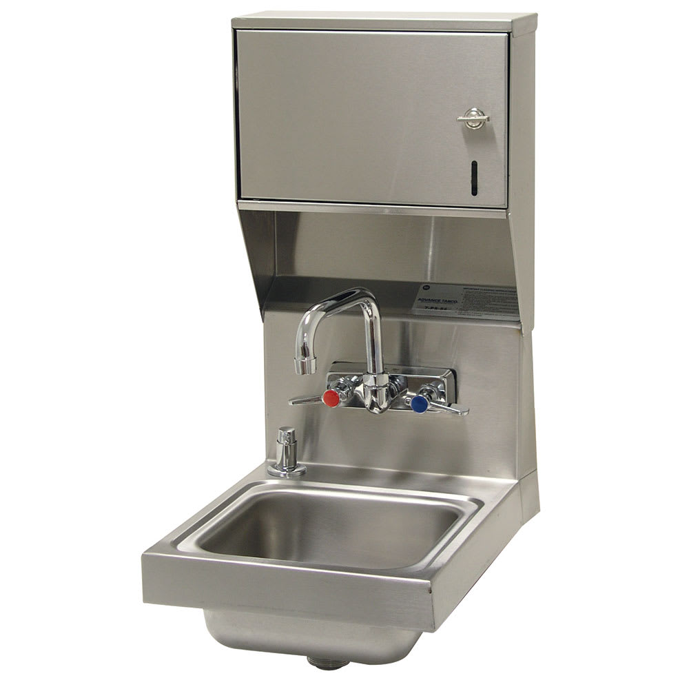 "Advance Tabco 7-PS-84 Wall Mount Commercial Hand Sink w/ 9""L x 9""W x 5""D Bowl, Soap Dispenser"