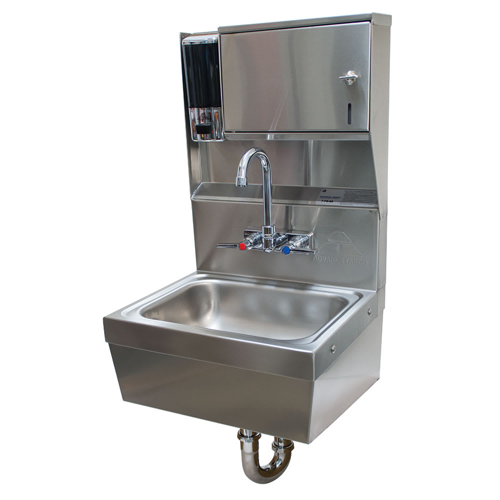 "Advance Tabco 7-PS-85 Wall Mount Commercial Hand Sink w/ 14""L x 10""W x 5""D Bowl, Soap Dispenser"