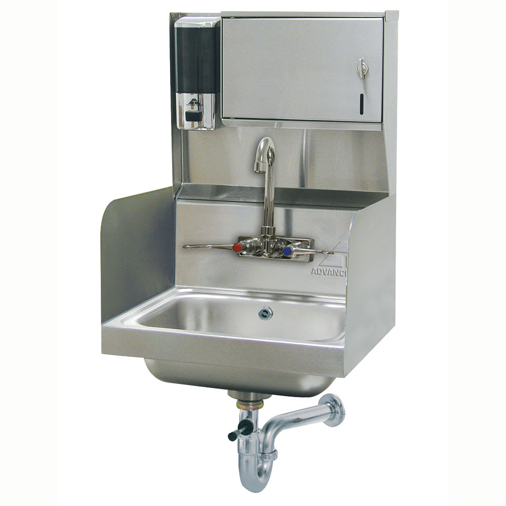 "Advance Tabco 7-PS-87 Wall Mount Commercial Hand Sink w/ 14""L x 10""W x 5""D Bowl, Soap Dispenser"