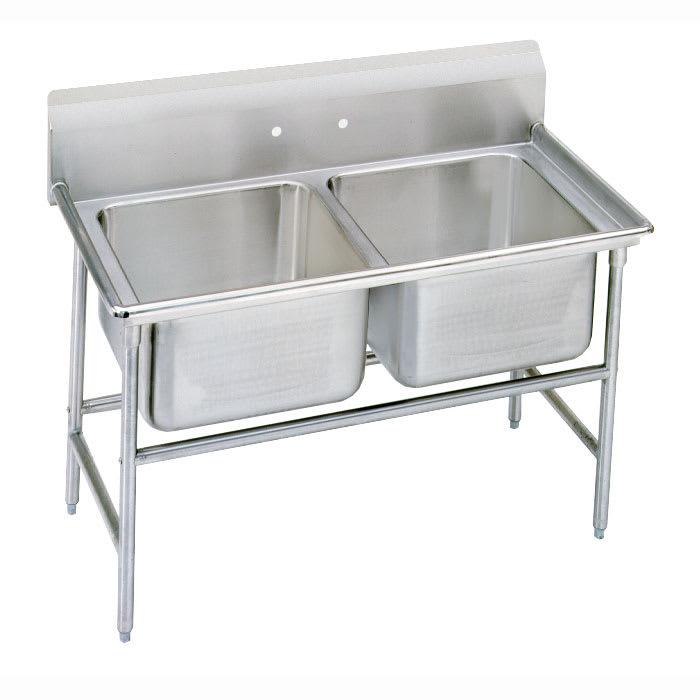 """Advance Tabco 9-22-40 52"""" 2-Compartment Sink w/ 20""""L x 20""""W Bowl, 12"""" Deep"""