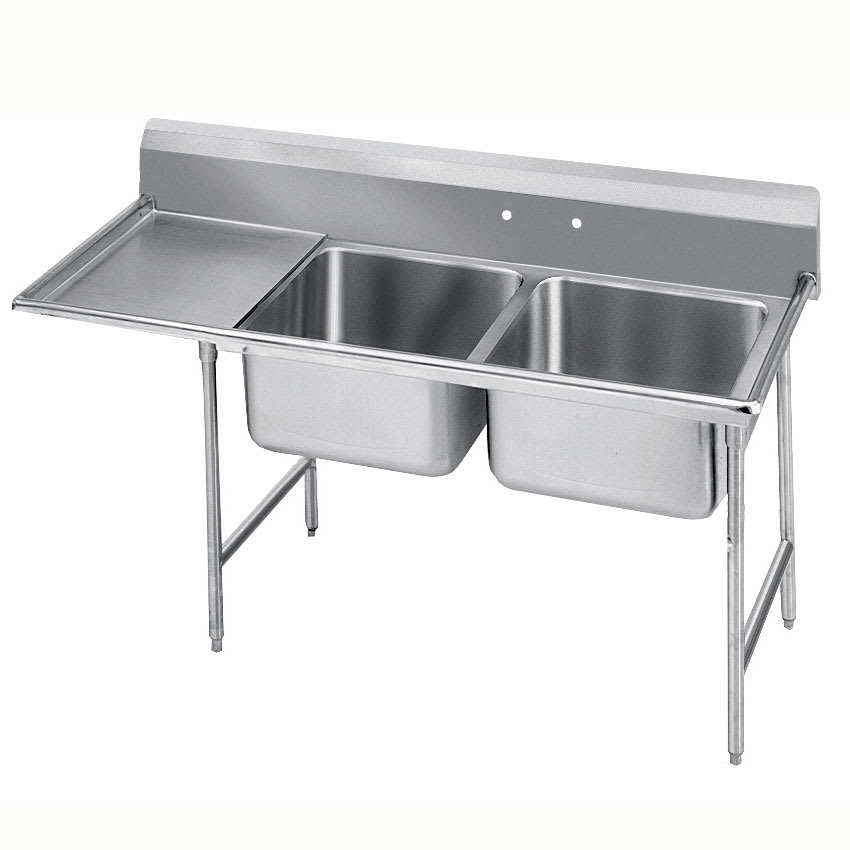 "Advance Tabco 9-22-40-24L 72"" 2 Compartment Sink w/ 20""L x 20""W Bowl, 12"" Deep"