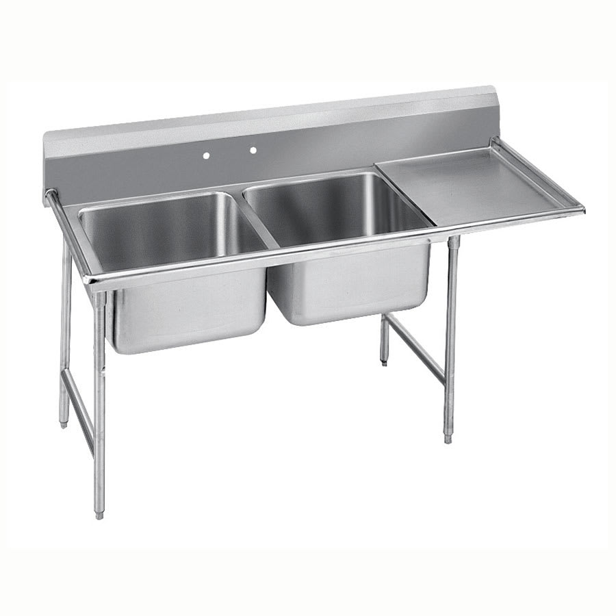 "Advance Tabco 9-22-40-36R 84"" 2 Compartment Sink w/ 20""L x 20""W Bowl, 12"" Deep"