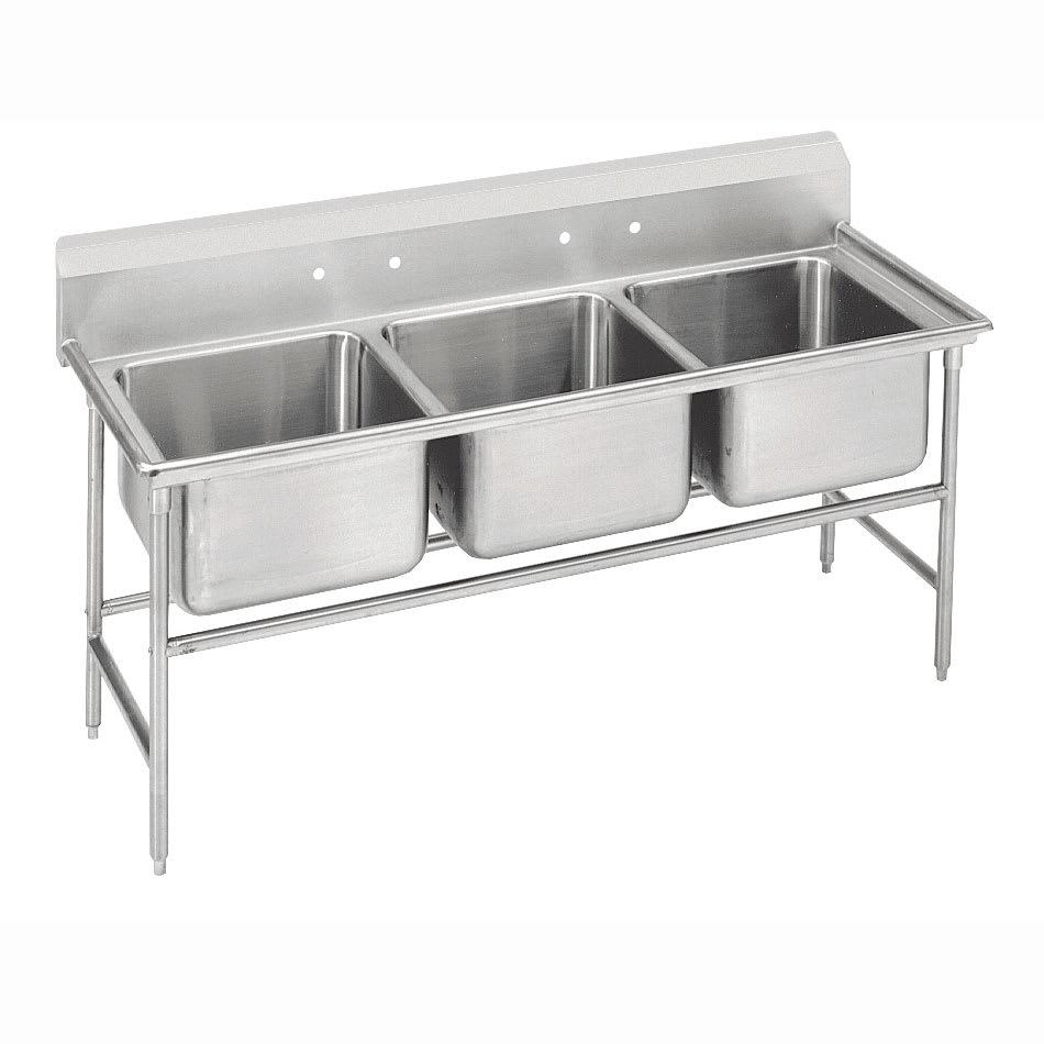 """Advance Tabco 9-23-60 74"""" 3 Compartment Sink w/ 20""""L x 20""""W Bowl, 12"""" Deep"""