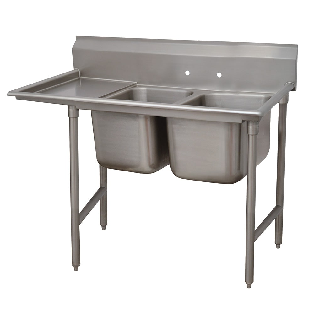 """Advance Tabco 9-2-36-18L 58"""" 2-Compartment Sink w/ 16""""L x 20""""W Bowl, 12"""" Deep"""