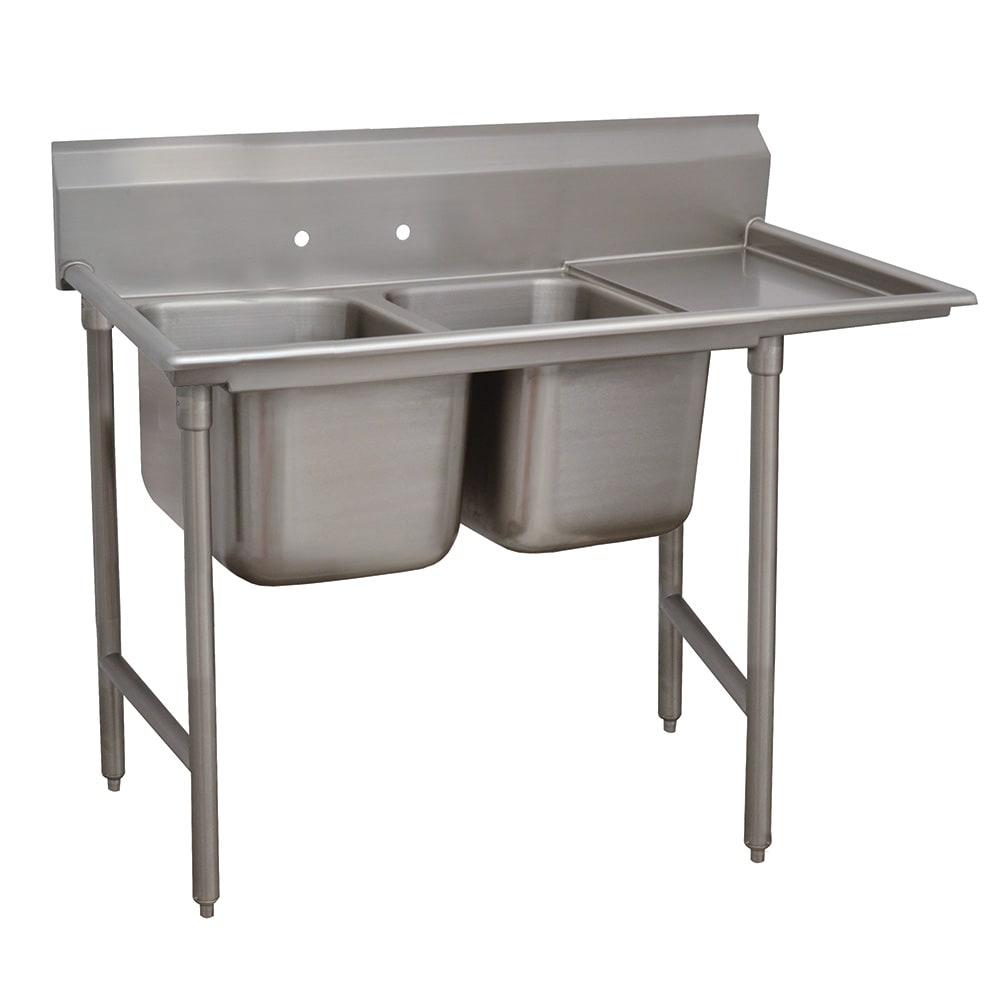 """Advance Tabco 9-2-36-18R 58"""" 2 Compartment Sink w/ 16""""L x 20""""W Bowl, 12"""" Deep"""