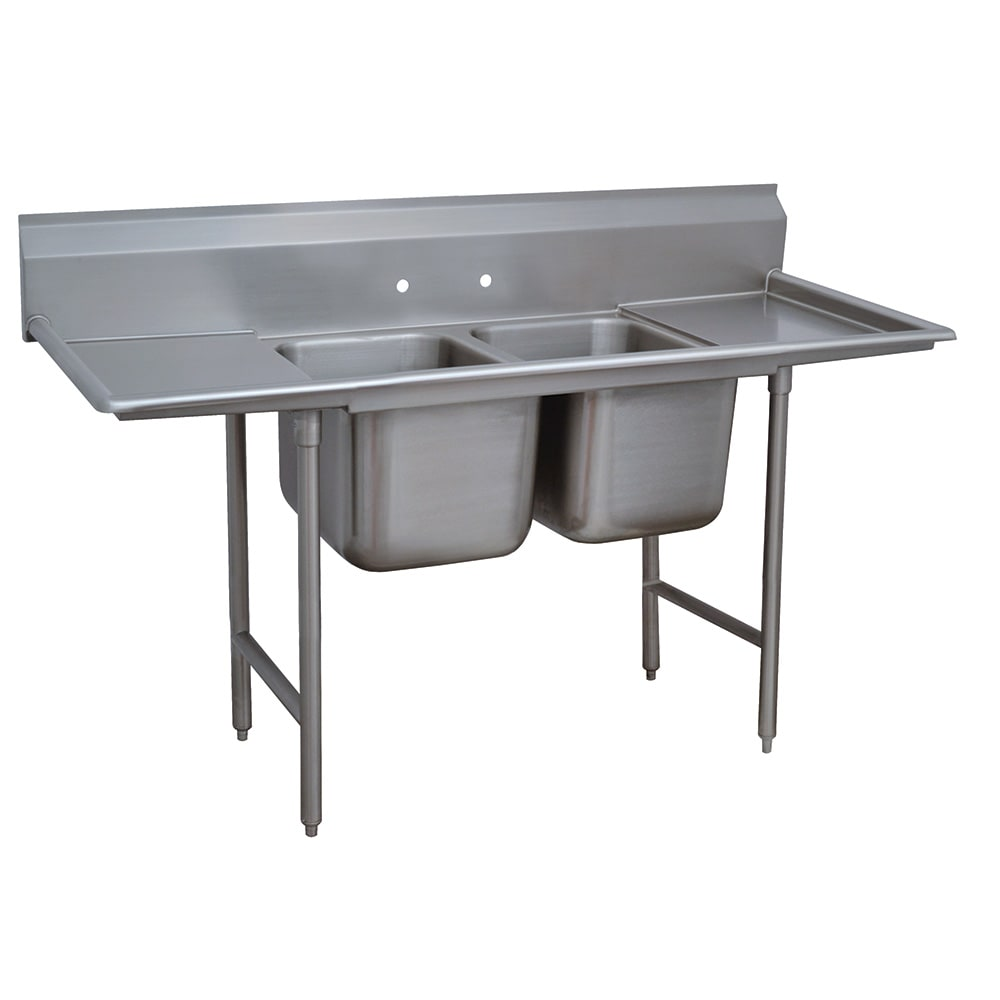 "Advance Tabco 9-2-36-18RL 72"" 2 Compartment Sink w/ 16""L x 20""W Bowl, 12"" Deep"