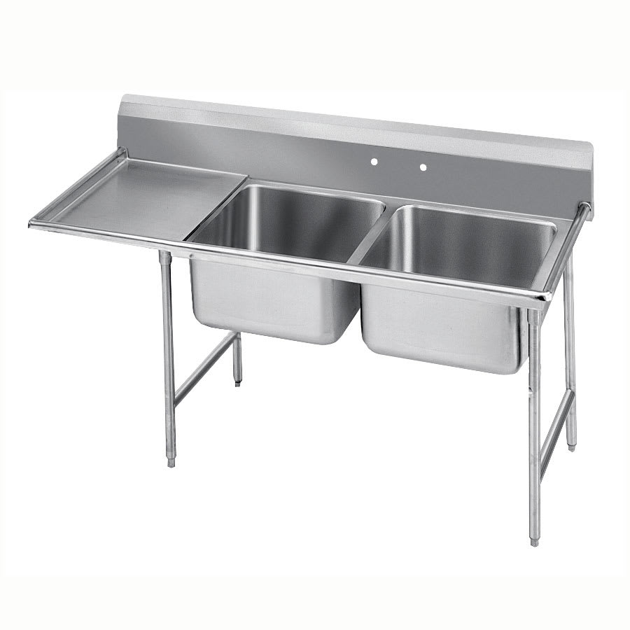 "Advance Tabco 9-2-36-24L 64"" 2 Compartment Sink w/ 16""L x 20""W Bowl, 12"" Deep"