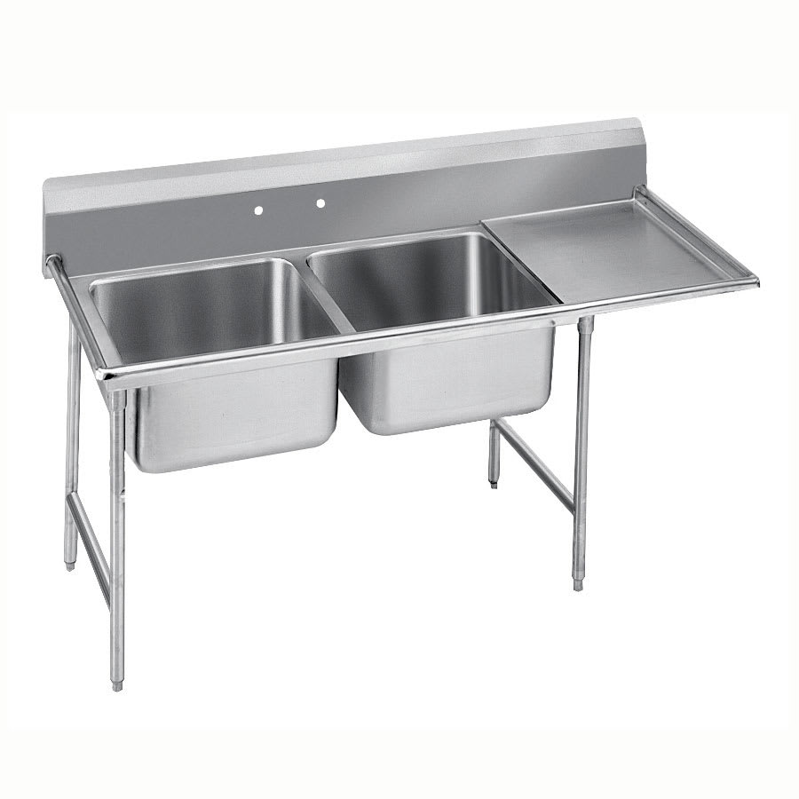 "Advance Tabco 9-2-36-36R 76"" 2 Compartment Sink w/ 16""L x 20""W Bowl, 12"" Deep"