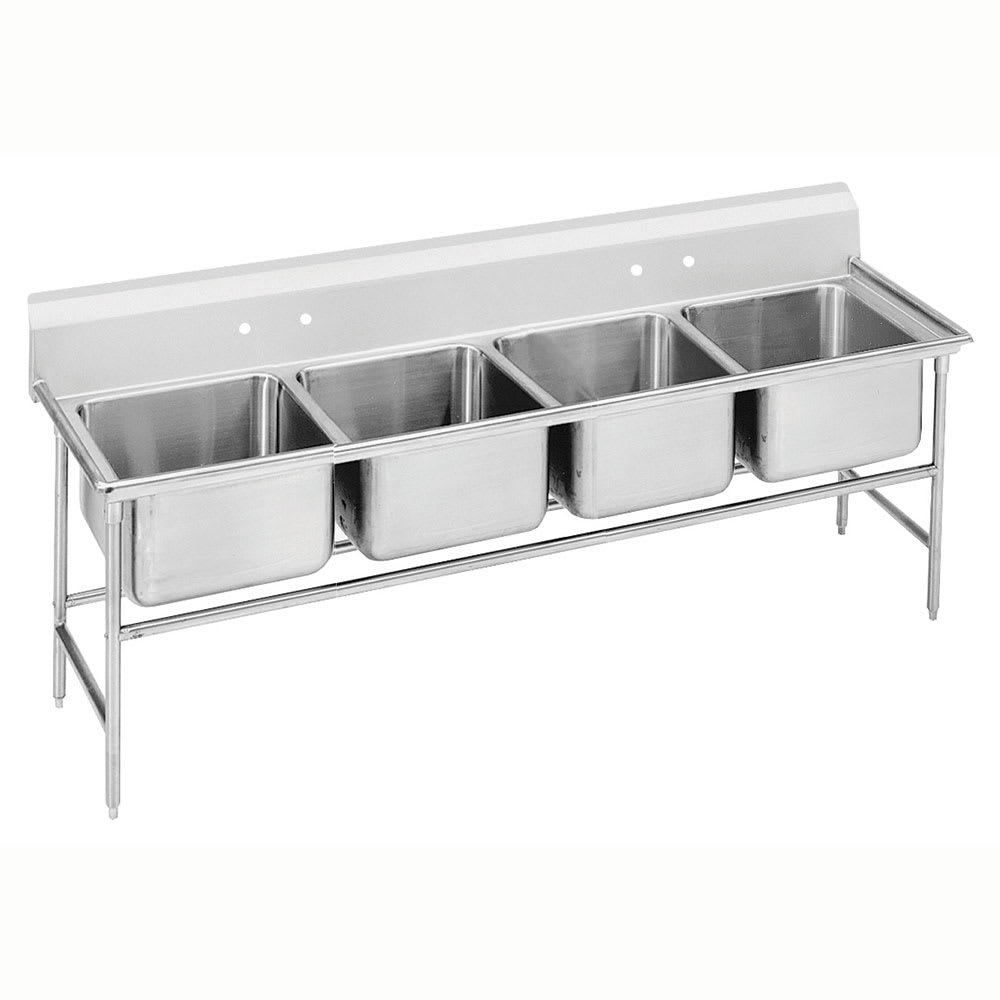 "Advance Tabco 9-24-80 97"" 4 Compartment Sink w/ 20""L x 20""W Bowl, 12"" Deep"