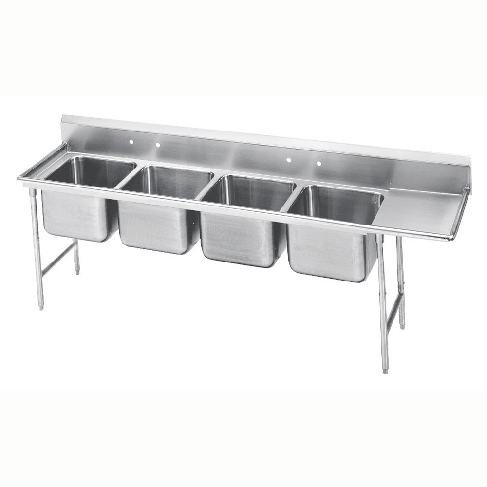 "Advance Tabco 9-24-80-18R 111"" 4-Compartment Sink w/ 20""L x 20""W Bowl, 12"" Deep"