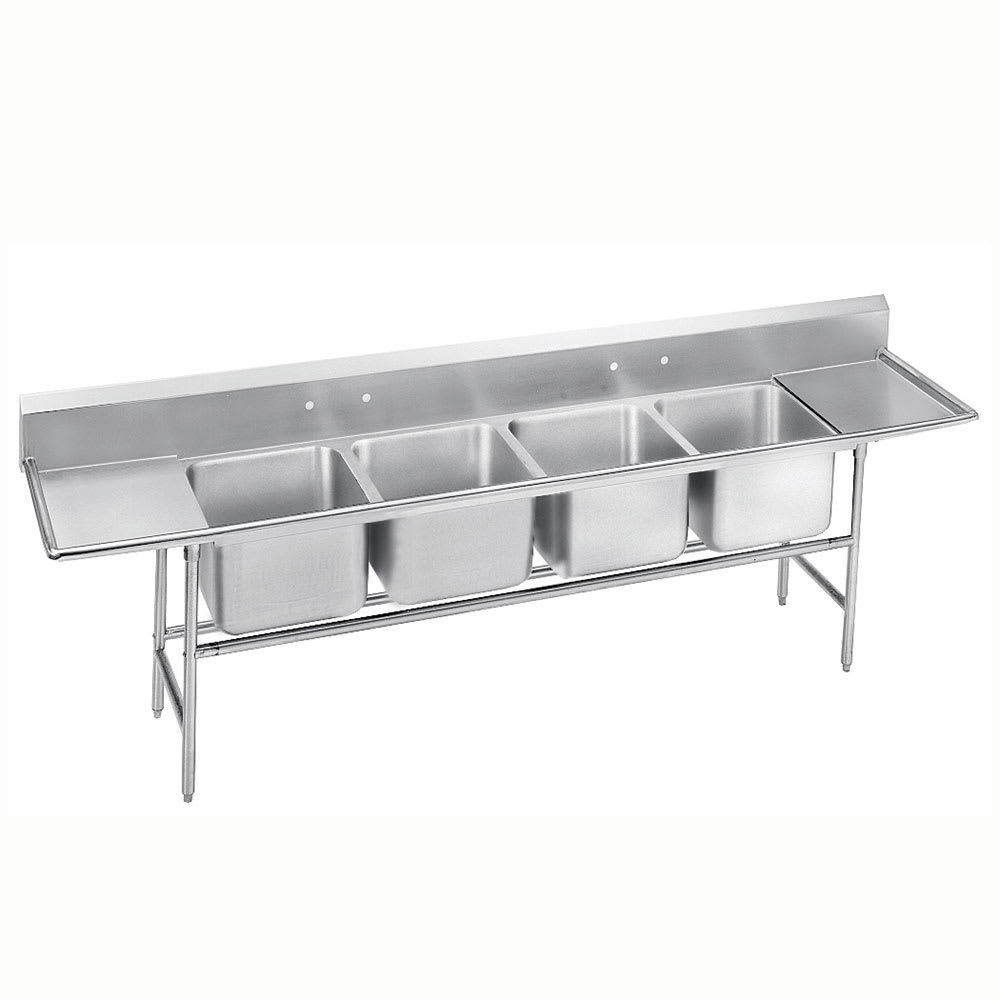 "Advance Tabco 9-24-80-24RL 138"" 4-Compartment Sink w/ 20""L x 20""W Bowl, 12"" Deep"