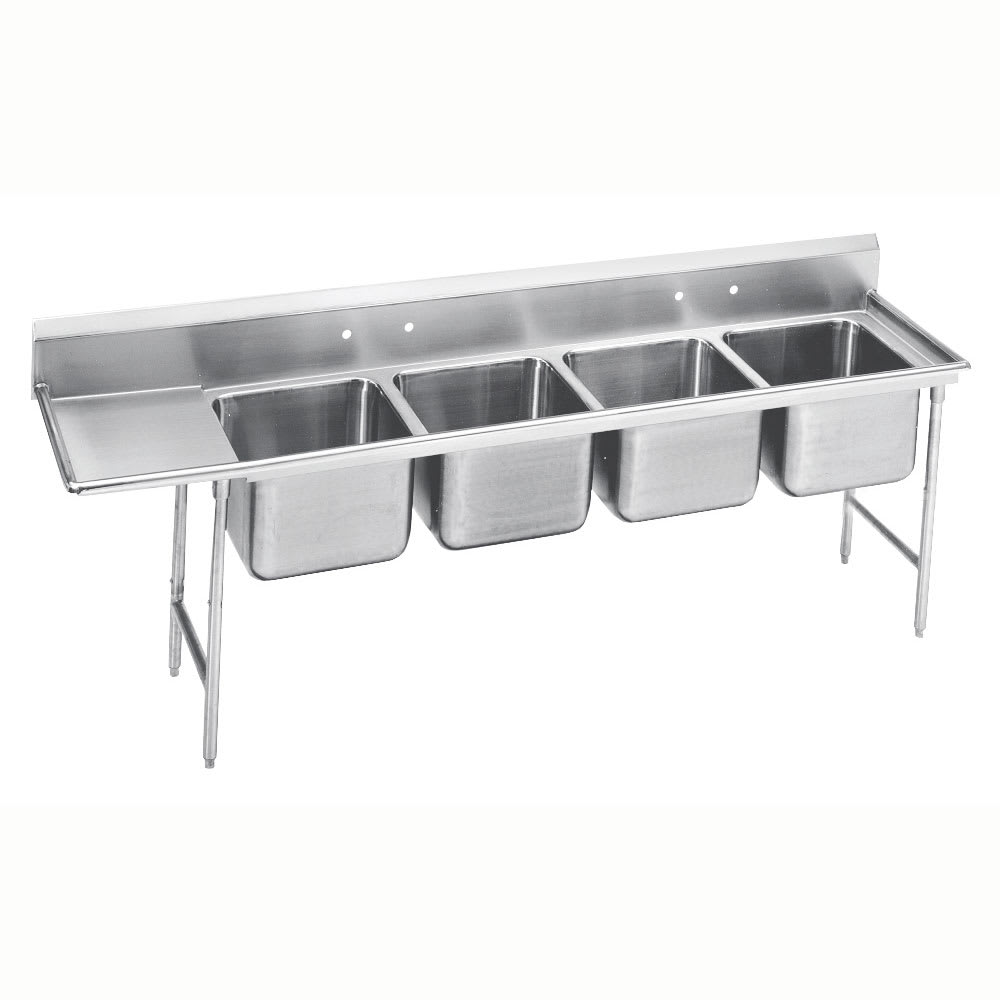 """Advance Tabco 9-24-80-36L 129"""" 4 Compartment Sink w/ 20""""L x 20""""W Bowl, 12"""" Deep"""