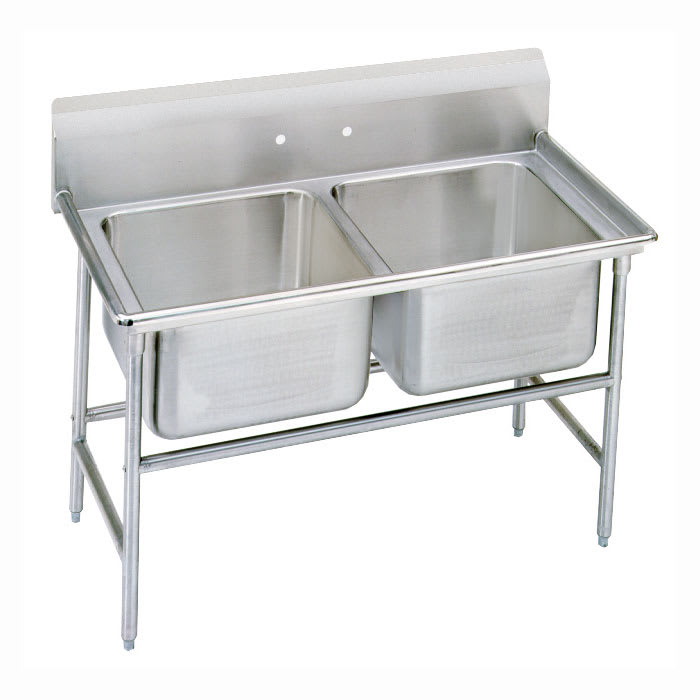 "Advance Tabco 93-22-40 52"" 2 Compartment Sink w/ 20""L x 20""W Bowl, 12"" Deep"