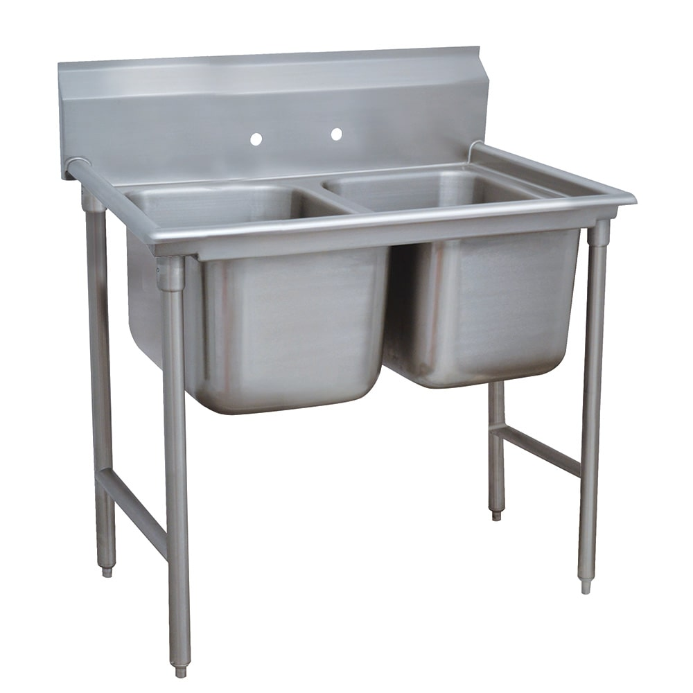 """Advance Tabco 93-2-36 44"""" 2 Compartment Sink w/ 16""""L x 20""""W Bowl, 12"""" Deep"""