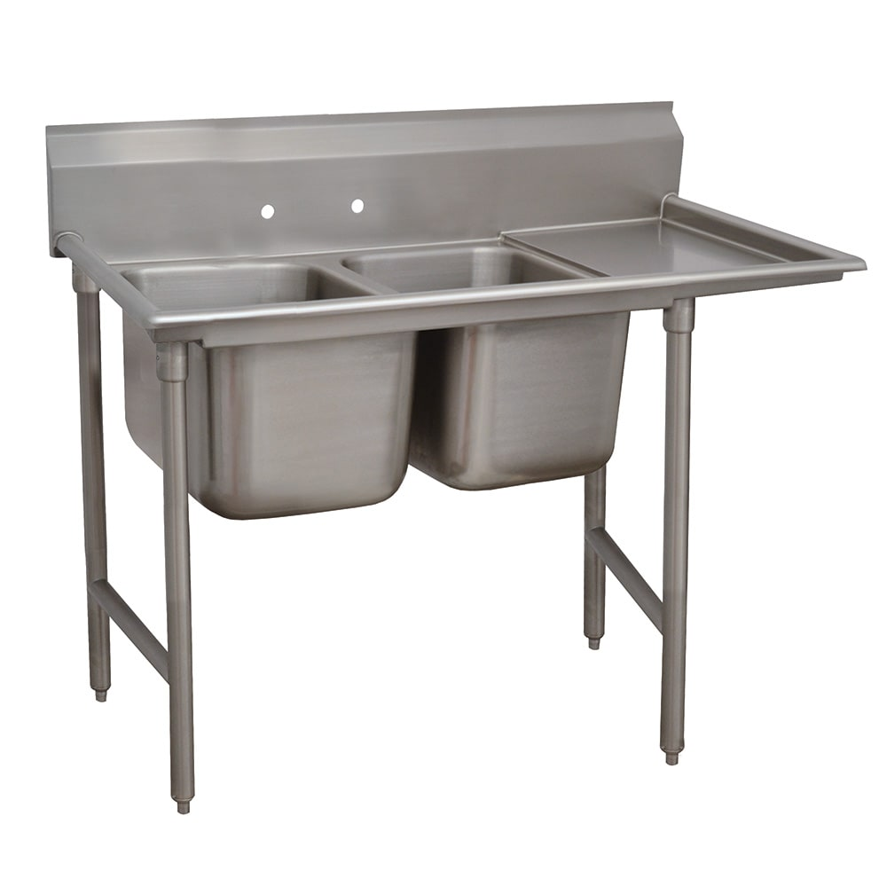 "Advance Tabco 93-2-36-18R 58"" 2-Compartment Sink w/ 16""L x 20""W Bowl, 12"" Deep"