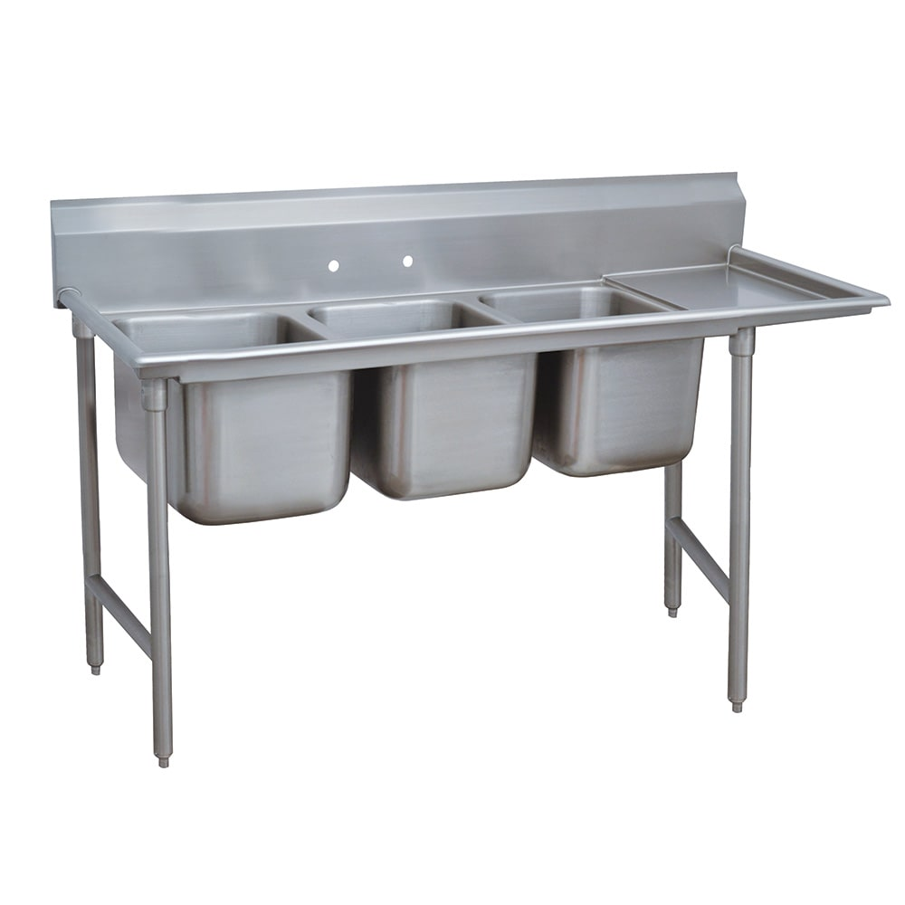 "Advance Tabco 93-3-54-18R 77"" 3 Compartment Sink w/ 16""L x 20""W Bowl, 12"" Deep"