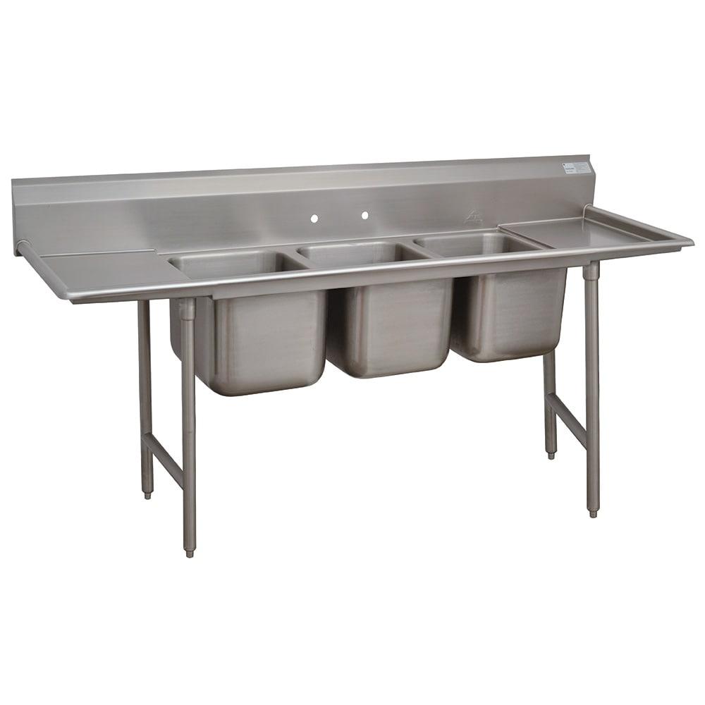 """Advance Tabco 93-3-54-18RL 91"""" 3 Compartment Sink w/ 16""""L x 20""""W Bowl, 12"""" Deep"""