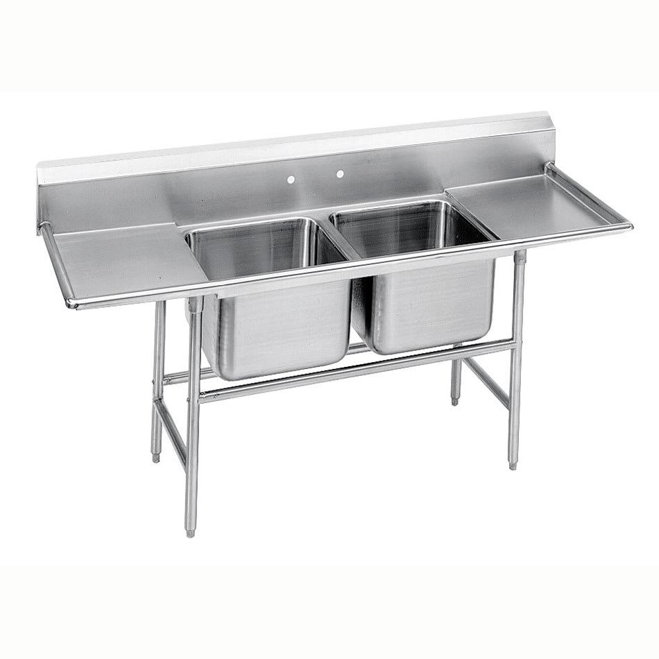 """Advance Tabco 93-42-48-36RL 125"""" 2 Compartment Sink w/ 24""""L x 24""""W Bowl, 12"""" Deep"""