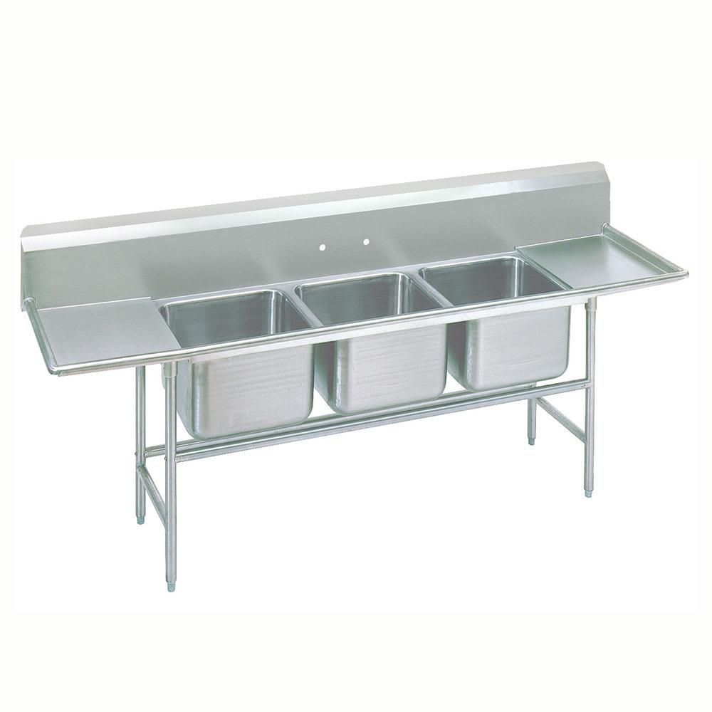 """Advance Tabco 93-43-72-36RL 151"""" 3 Compartment Sink w/ 24""""L x 24""""W Bowl, 12"""" Deep"""