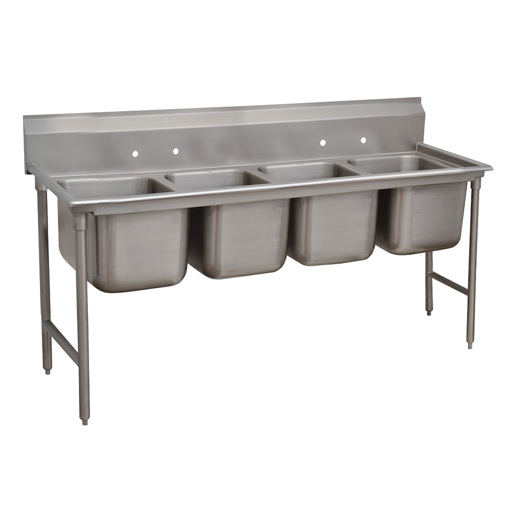 "Advance Tabco 93-4-72-18RL 110"" 4 Compartment Sink w/ 16""L x 20""W Bowl, 12"" Deep"