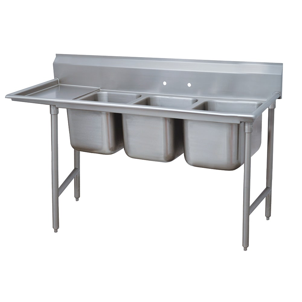 "Advance Tabco 9-3-54-18L 77"" 3-Compartment Sink w/ 16""L x 20""W Bowl, 12"" Deep"