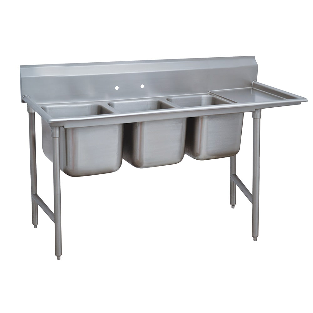 "Advance Tabco 9-3-54-18R 77"" 3 Compartment Sink w/ 16""L x 20""W Bowl, 12"" Deep"