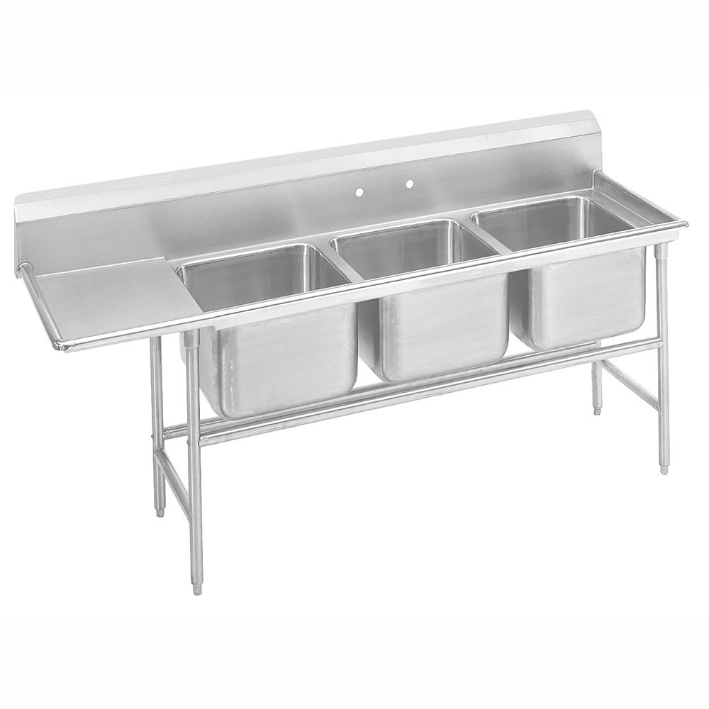 "Advance Tabco 9-3-54-36L 95"" 3-Compartment Sink w/ 16""L x 20""W Bowl, 12"" Deep"
