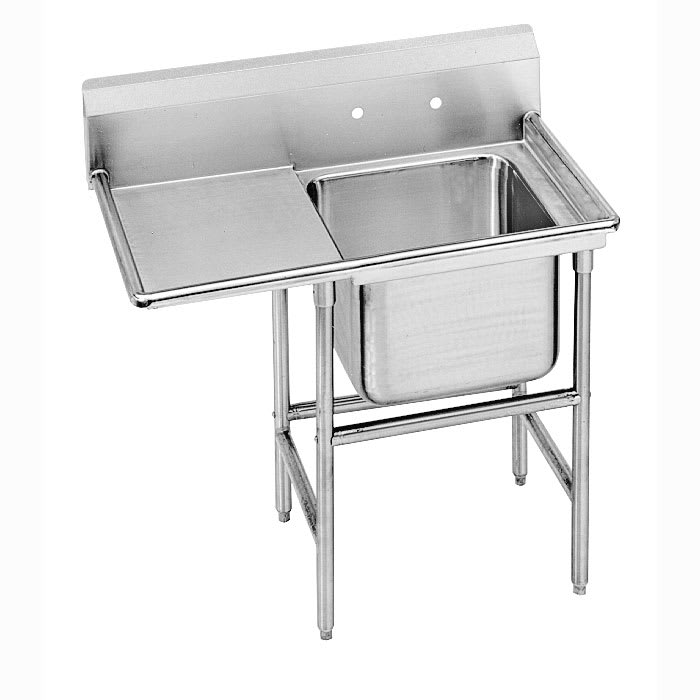 "Advance Tabco 93-81-20-36L 62"" 1 Compartment Sink w/ 20""L x 28""W Bowl, 12"" Deep"