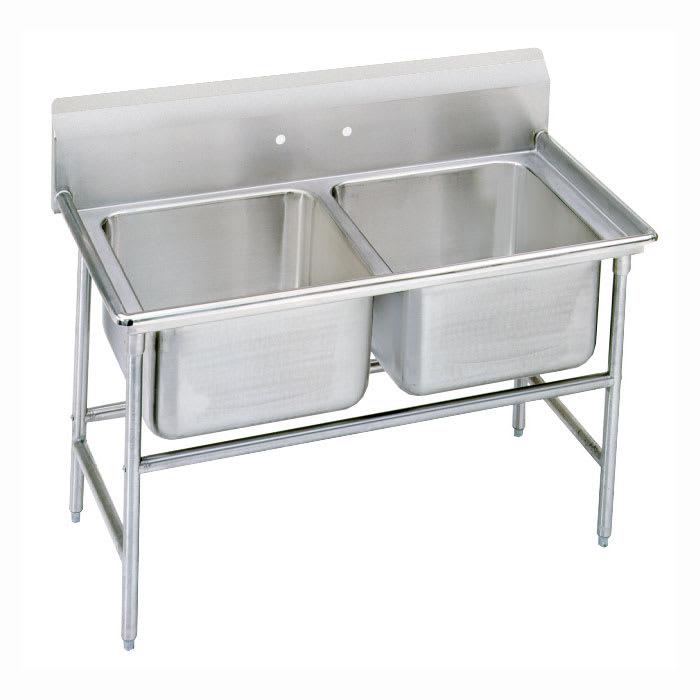 """Advance Tabco 93-82-40 52"""" 2 Compartment Sink w/ 20""""L x 28""""W Bowl, 12"""" Deep"""