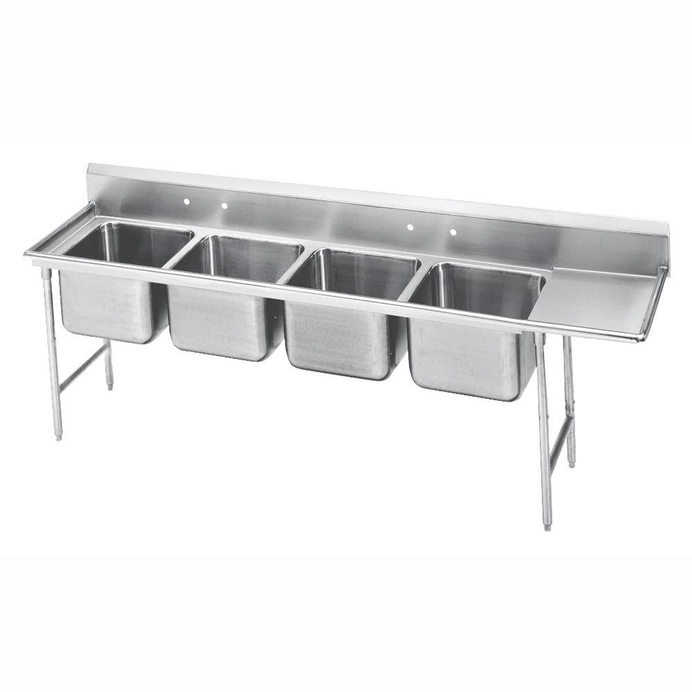 """Advance Tabco 93-84-80-36R 129"""" 4-Compartment Sink w/ 20""""L x 28""""W Bowl, 12"""" Deep"""