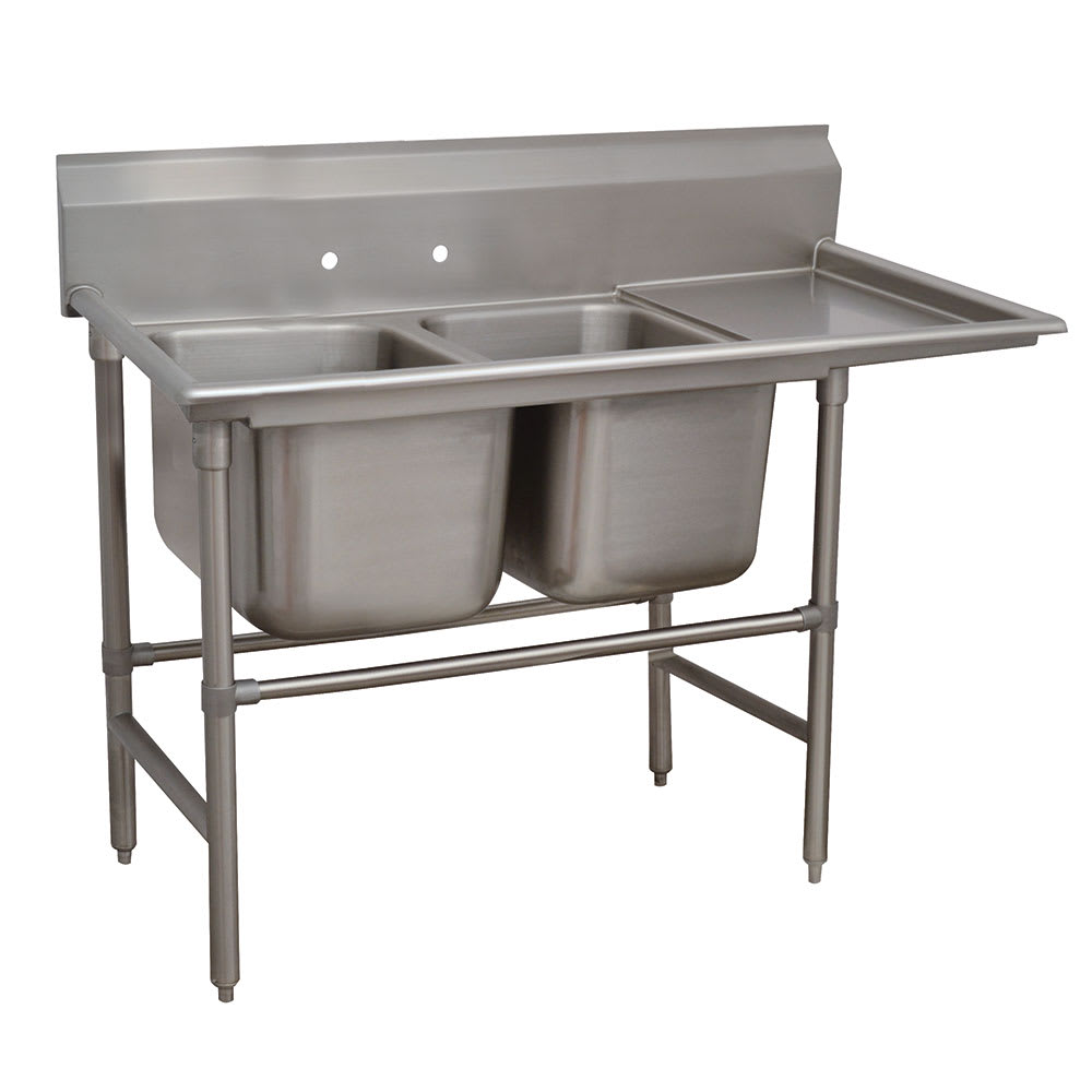 "Advance Tabco 94-2-36-18R 58"" 2 Compartment Sink w/ 16""L x 20""W Bowl, 14"" Deep"