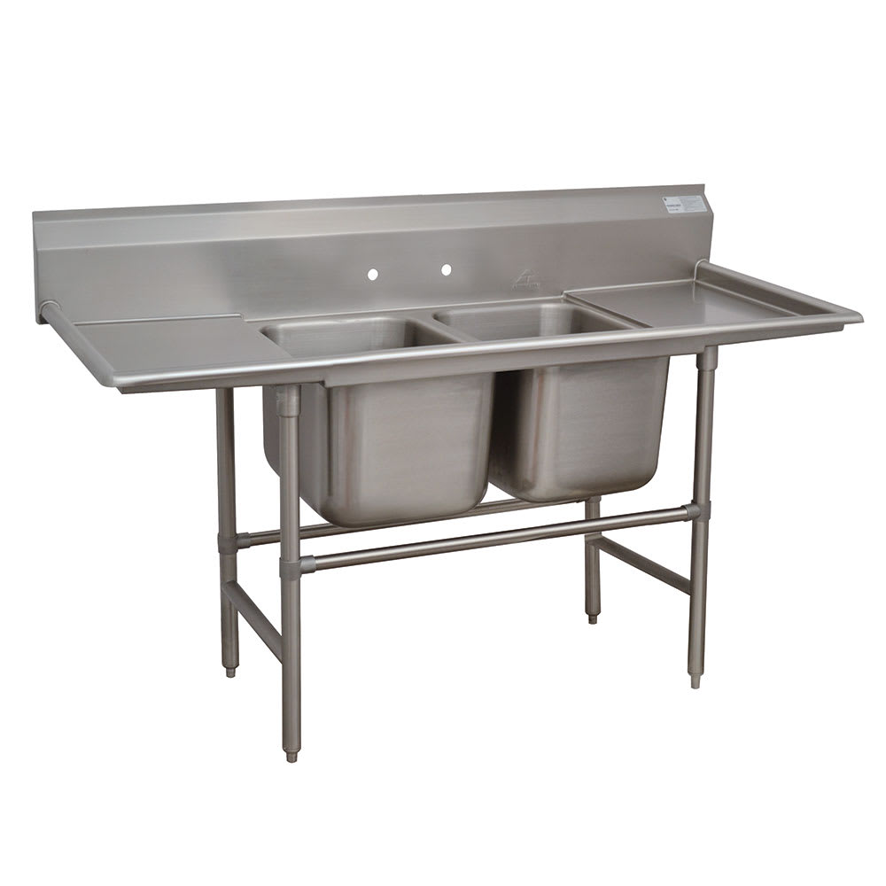 "Advance Tabco 94-2-36-18RL 73"" 2 Compartment Sink w/ 16""L x 20""W Bowl, 14"" Deep"