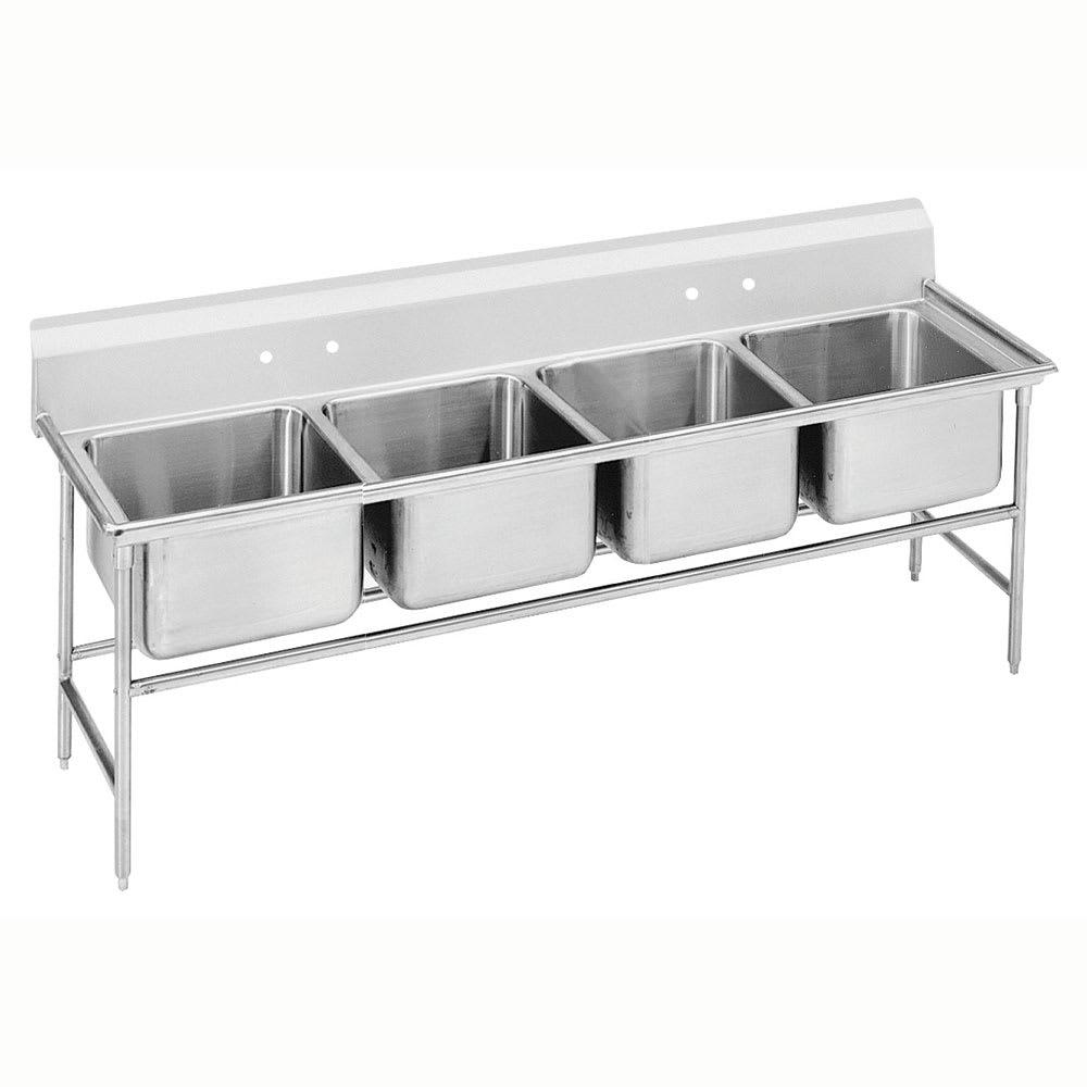 """Advance Tabco 94-24-80 97"""" 4-Compartment Sink w/ 20""""L x 20""""W Bowl, 14"""" Deep"""