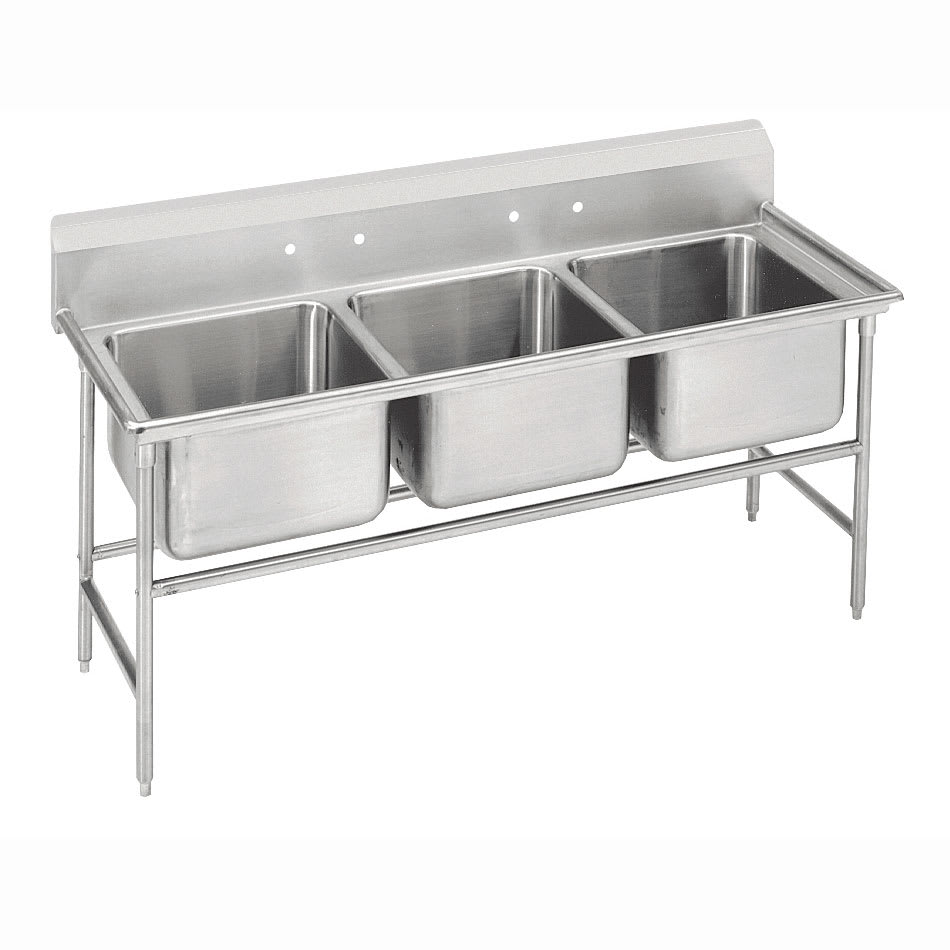 """Advance Tabco 9-43-72 86"""" 3-Compartment Sink w/ 24""""L x 24""""W Bowl, 12"""" Deep"""
