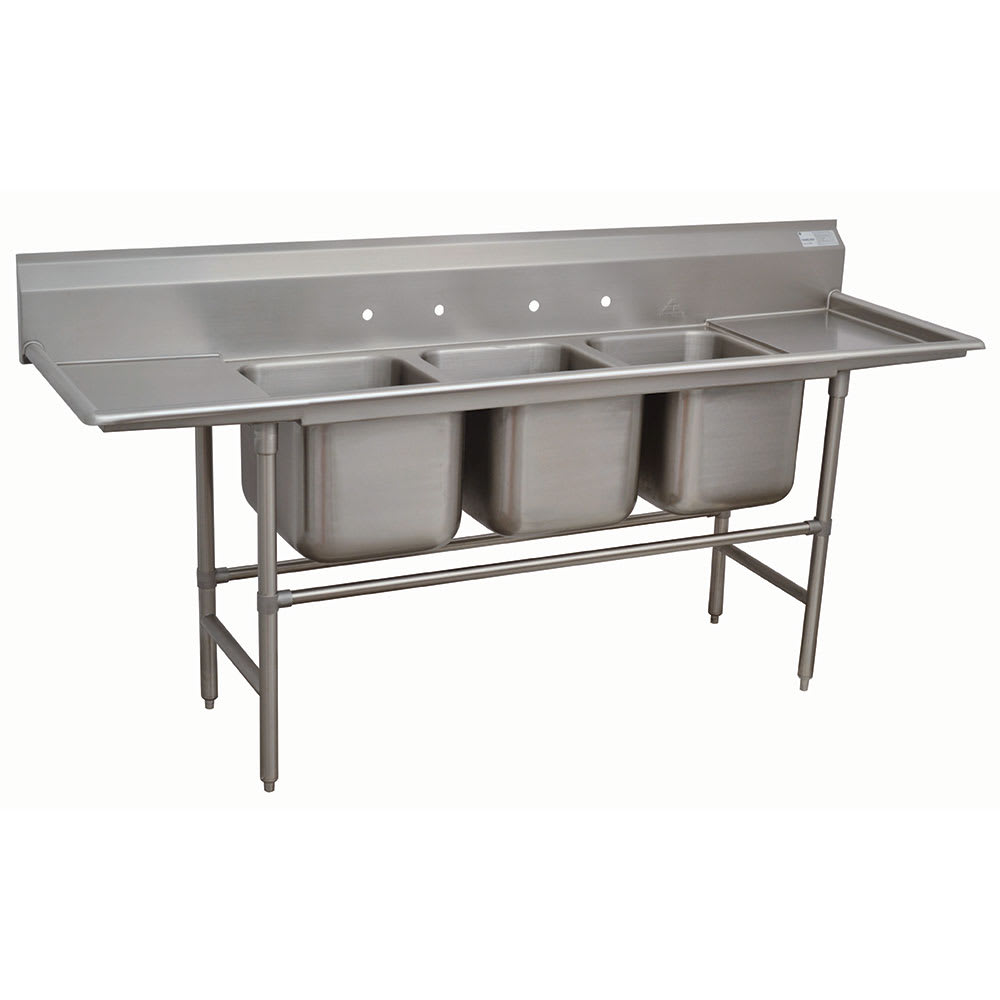 "Advance Tabco 94-43-72-24RL 127"" 3 Compartment Sink w/ 24""L x 24""W Bowl, 14"" Deep"