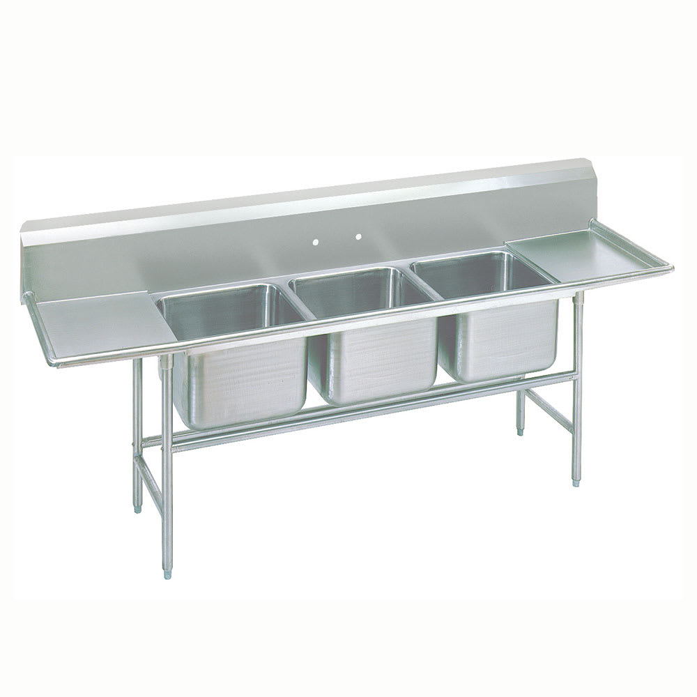 "Advance Tabco 94-43-72-36RL 151"" 3-Compartment Sink w/ 24""L x 24""W Bowl, 14"" Deep"