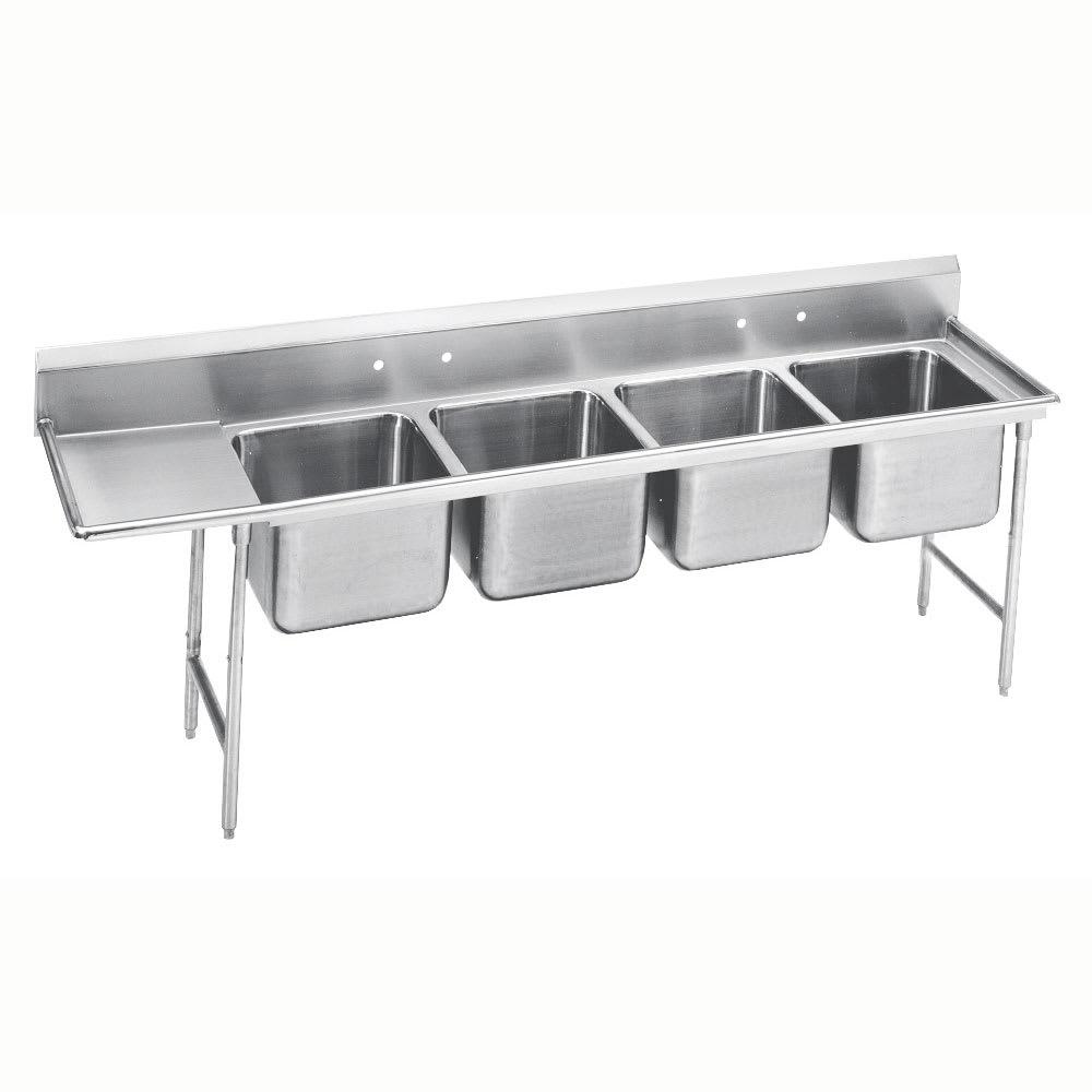 """Advance Tabco 9-44-96-24L 133"""" 4-Compartment Sink w/ 24""""L x 24""""W Bowl, 12"""" Deep"""